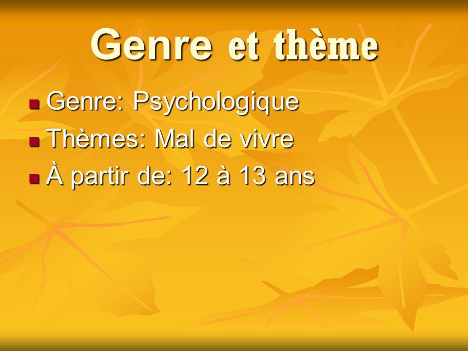 Genre et thème Genre: Psychologique Genre: Psychologique Thèmes: Mal de vivre Thèmes: Mal de vivre À partir de: 12 à 13 ans À partir de: 12 à 13 ans