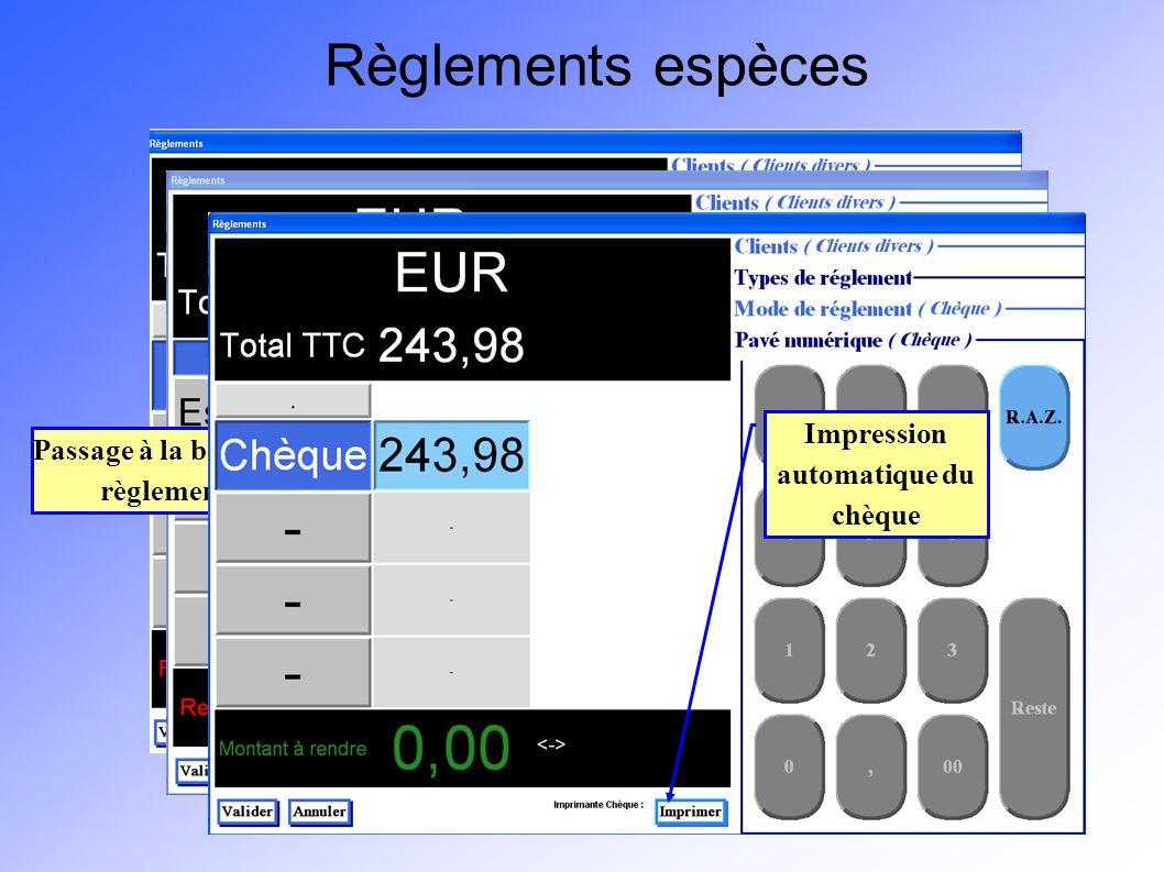 Passage à la boite de dialogue règlements espèces Pour appliquer une remise, cliquez sur le bouton situé juste en-dessous de la mention Total TTC Règl
