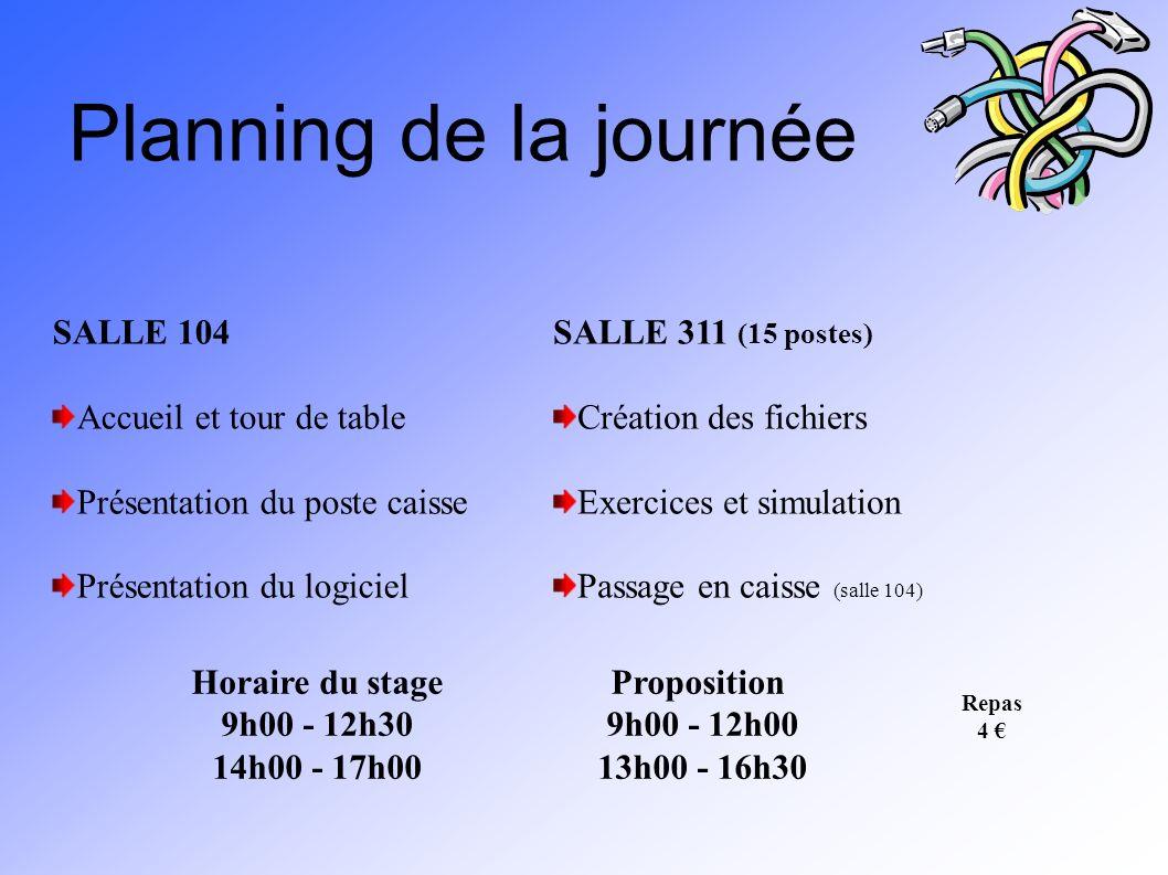 Planning de la journée SALLE 104 Accueil et tour de table Présentation du poste caisse Présentation du logiciel SALLE 311 (15 postes) Création des fic