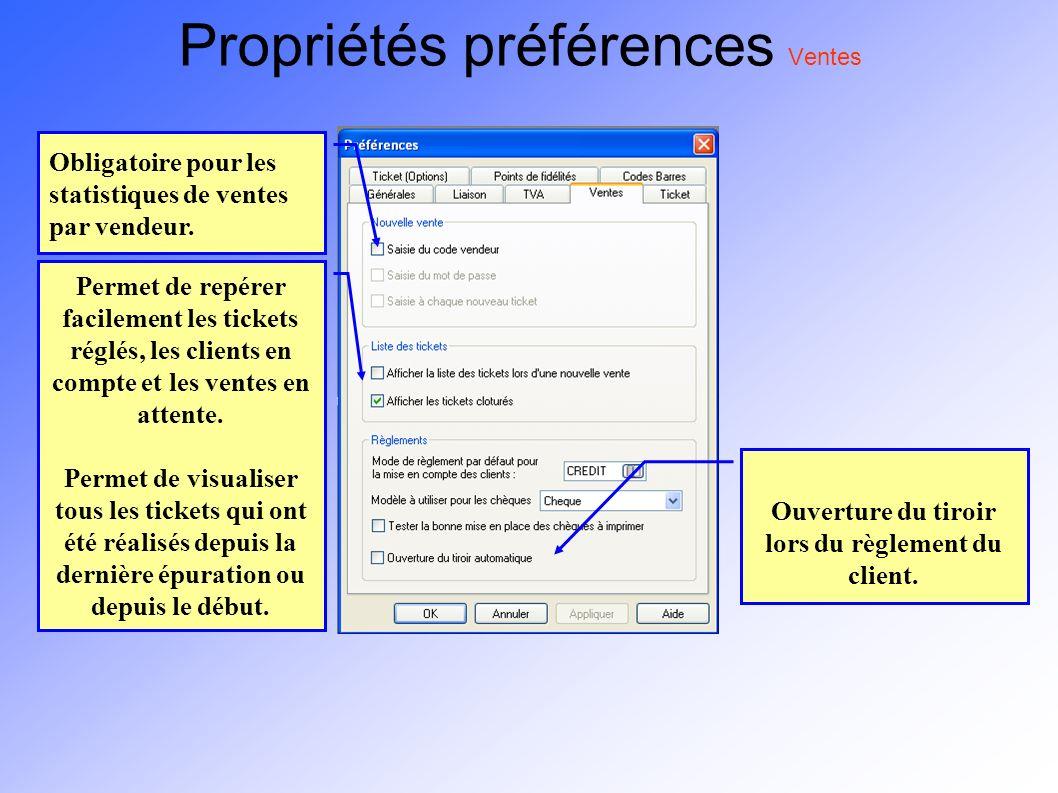 Propriétés préférences Ventes Obligatoire pour les statistiques de ventes par vendeur. Ouverture du tiroir lors du règlement du client. Permet de repé