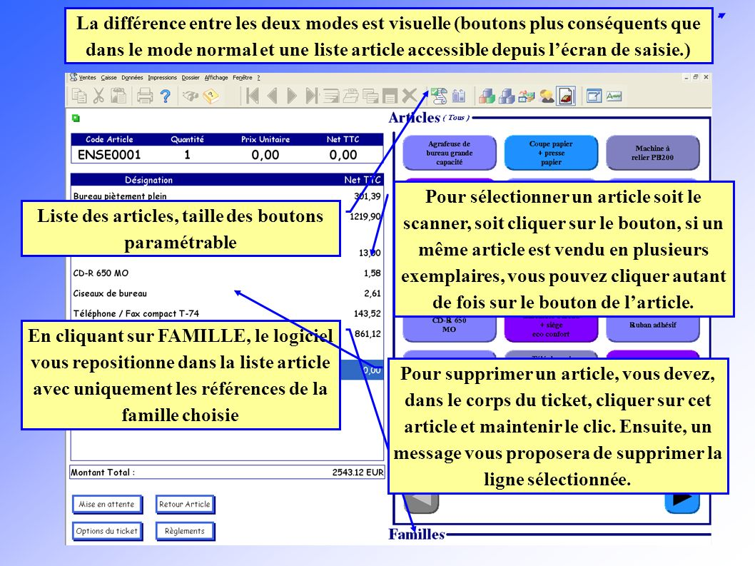 Fonctionnement de linterface Cette option permet dinsérer des articles en quantité négative.
