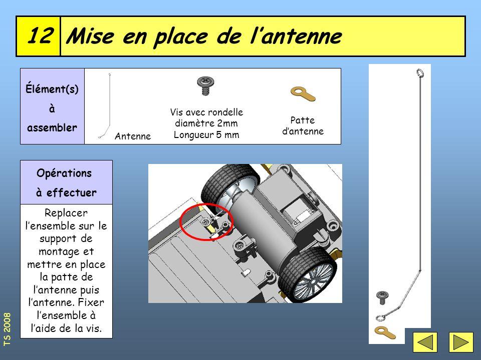 Mise en place de lantenne12 Vis avec rondelle diamètre 2mm Longueur 5 mm Élément(s) à assembler Opérations à effectuer Replacer lensemble sur le suppo