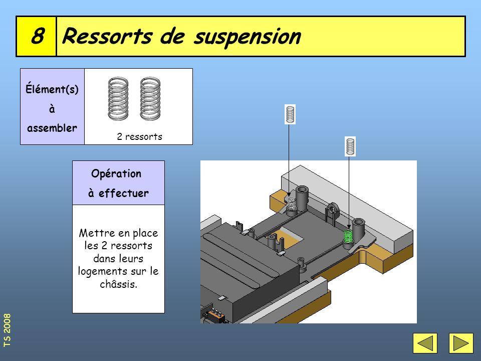 Ressorts de suspension8 2 ressorts Élément(s) à assembler Opération à effectuer Mettre en place les 2 ressorts dans leurs logements sur le châssis. TS