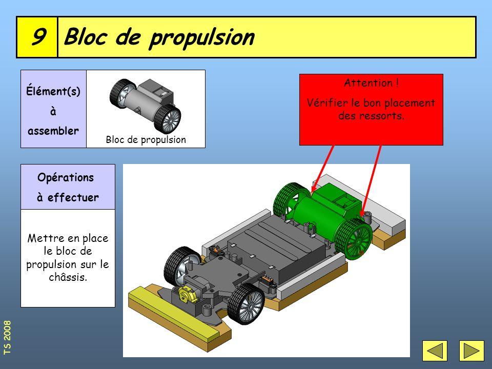 Bloc de propulsion9 Élément(s) à assembler Opérations à effectuer Mettre en place le bloc de propulsion sur le châssis. Attention ! Vérifier le bon pl