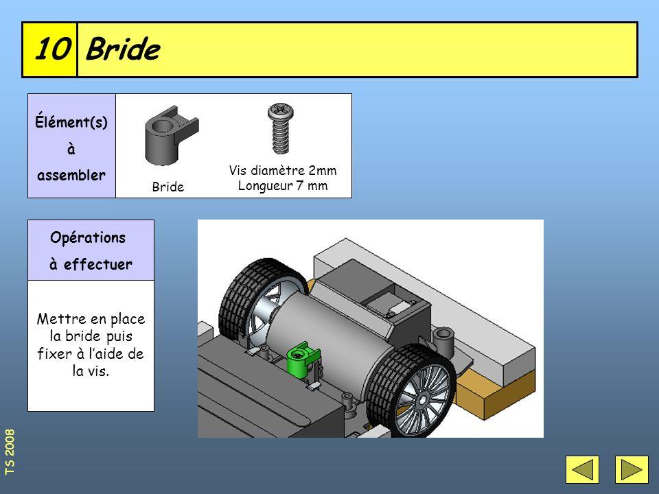 Bride10 Vis diamètre 2mm Longueur 7 mm Élément(s) à assembler Opérations à effectuer Mettre en place la bride puis fixer à laide de la vis. Bride TS 2