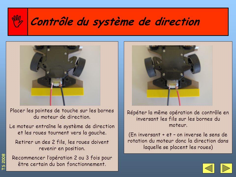 Contrôle du système de direction Placer les pointes de touche sur les bornes du moteur de direction. Le moteur entraîne le système de direction et les