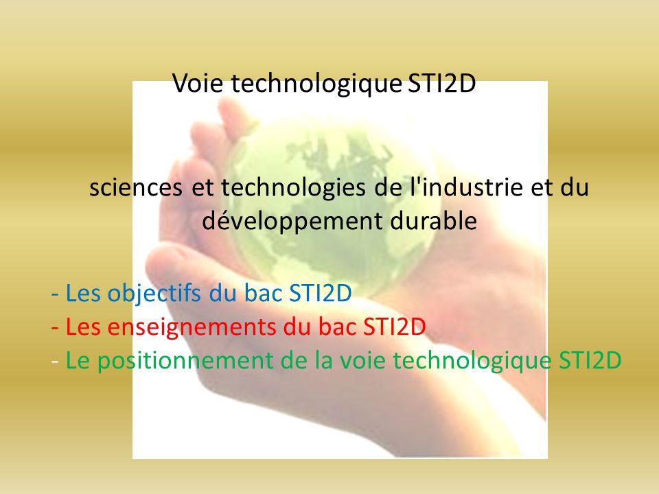 - Les objectifs du bac STI2D - Les enseignements du bac STI2D - Le positionnement de la voie technologique STI2D Voie technologique STI2D sciences et
