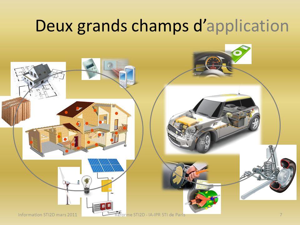Deux grands champs dapplication Information STI2D mars 2011Réforme STI2D - IA-IPR STI de Paris7