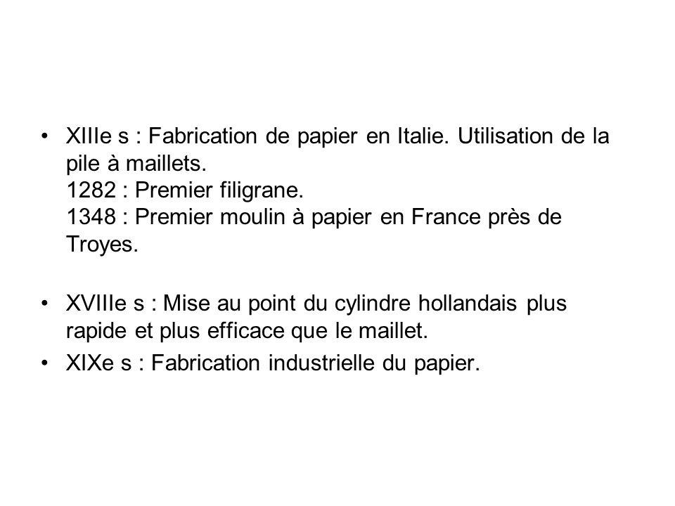XIIIe s : Fabrication de papier en Italie.Utilisation de la pile à maillets.