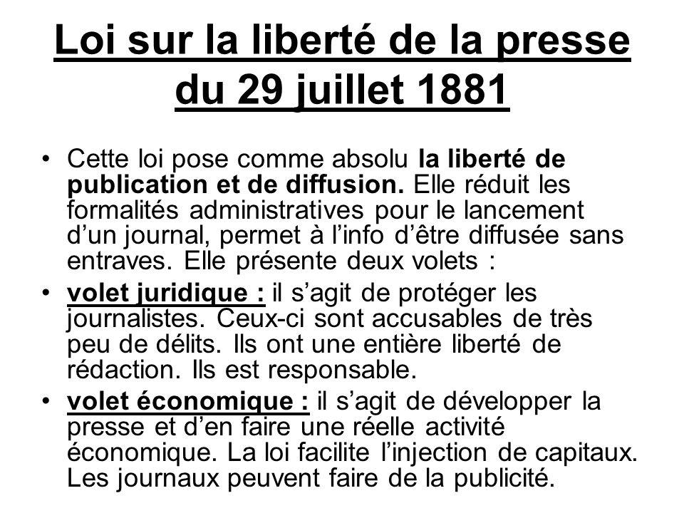 Loi sur la liberté de la presse du 29 juillet 1881 Cette loi pose comme absolu la liberté de publication et de diffusion.