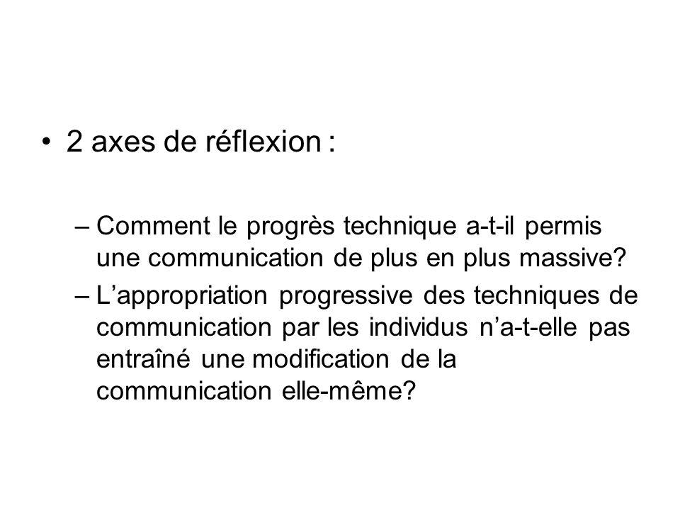 2 axes de réflexion : –Comment le progrès technique a-t-il permis une communication de plus en plus massive.