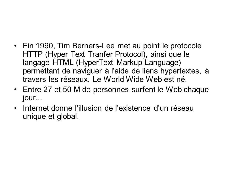 Fin 1990, Tim Berners-Lee met au point le protocole HTTP (Hyper Text Tranfer Protocol), ainsi que le langage HTML (HyperText Markup Language) permettant de naviguer à l aide de liens hypertextes, à travers les réseaux.