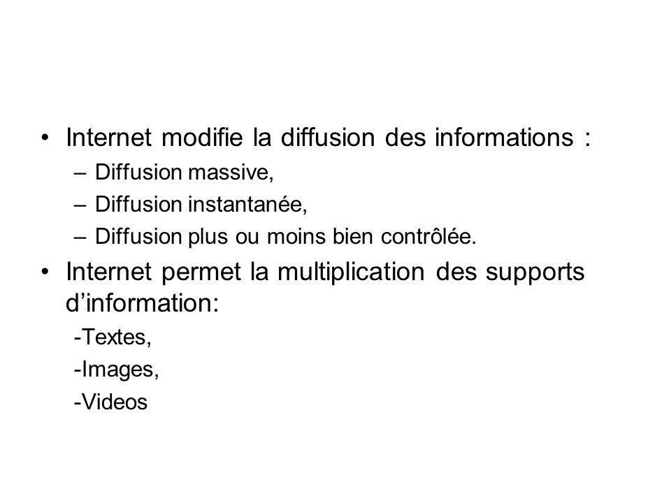 Internet modifie la diffusion des informations : –Diffusion massive, –Diffusion instantanée, –Diffusion plus ou moins bien contrôlée.