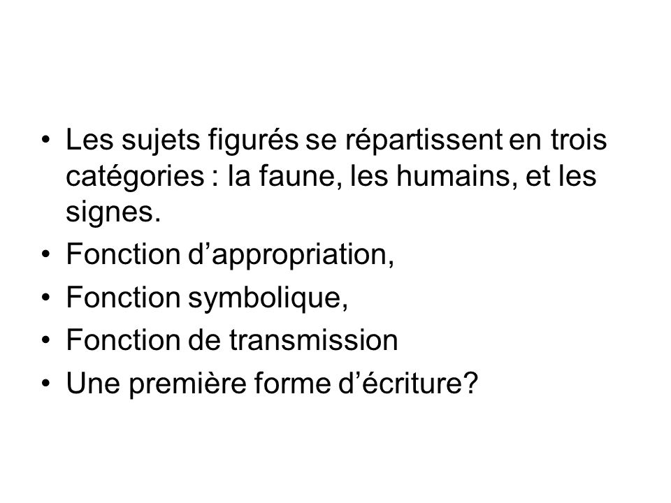 Les sujets figurés se répartissent en trois catégories : la faune, les humains, et les signes.
