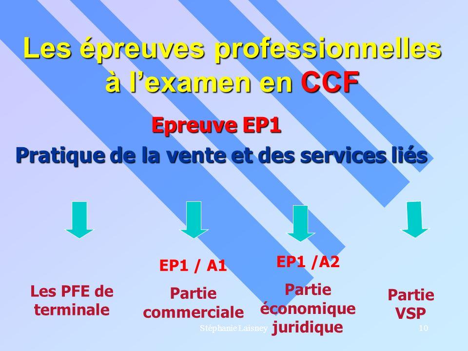 Stéphanie Laisney10 Les épreuves professionnelles à lexamen en CCF Epreuve EP1 Epreuve EP1 Pratique de la vente et des services liés Les PFE de termin