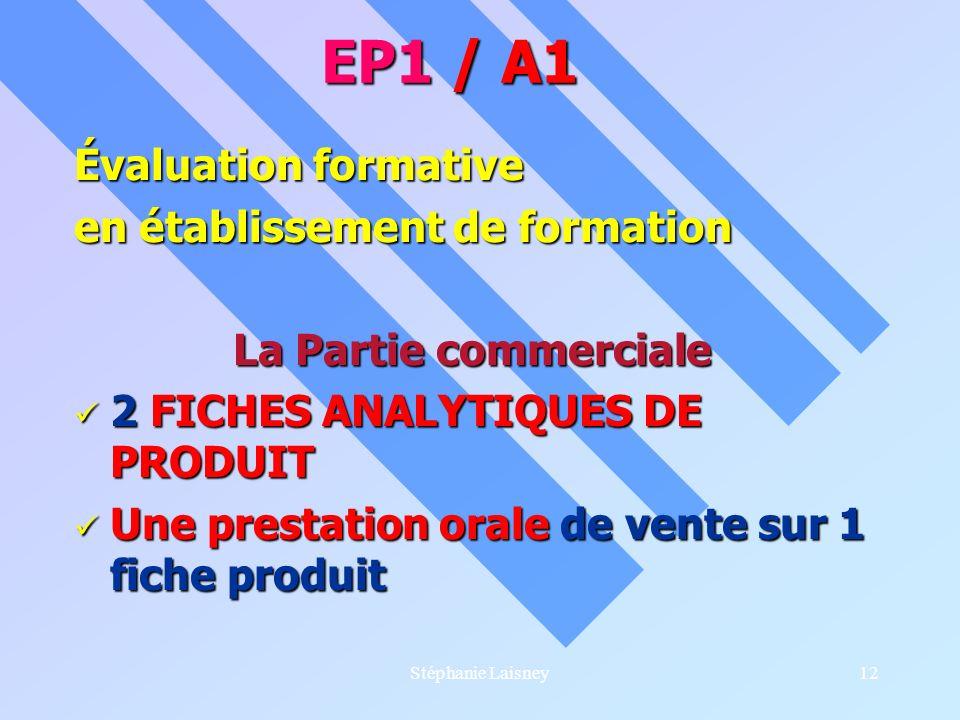 Stéphanie Laisney12 Évaluation formative en établissement de formation La Partie commerciale 2 FICHES ANALYTIQUES DE PRODUIT 2 FICHES ANALYTIQUES DE P