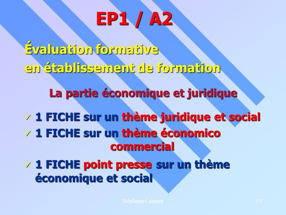 Stéphanie Laisney13 Évaluation formative en établissement de formation La partie économique et juridique 1 FICHE sur un thème juridique et social 1 FI