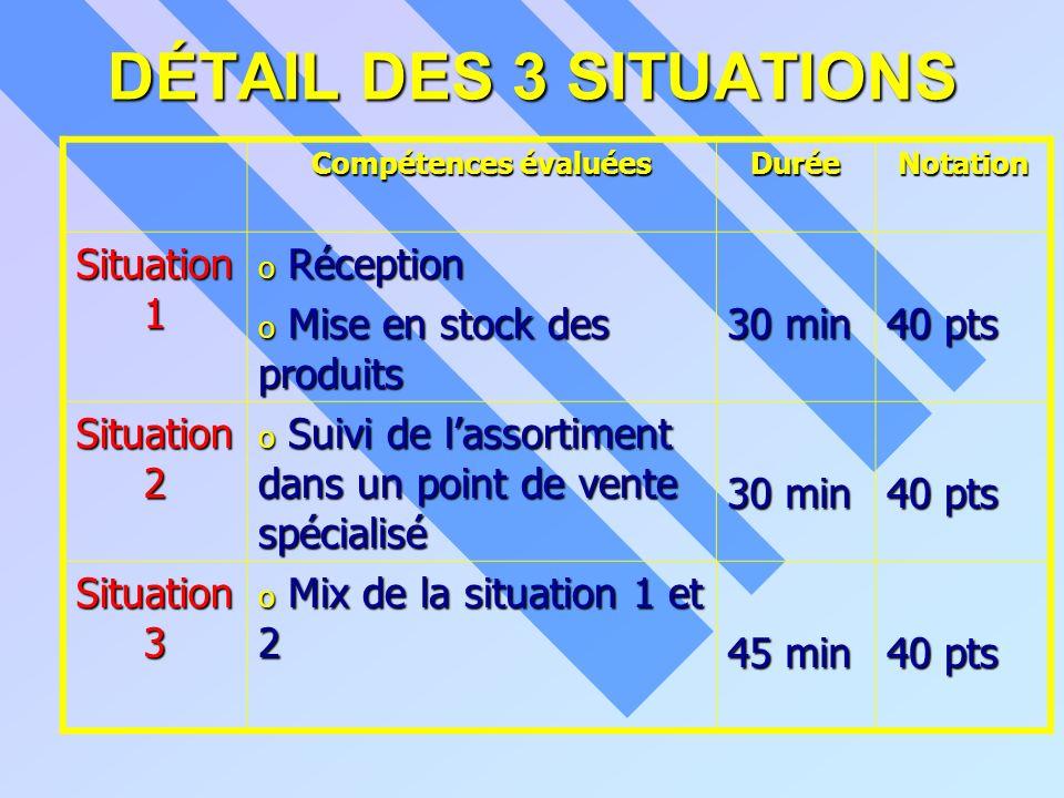 DÉTAIL DES 3 SITUATIONS Compétences évaluées DuréeNotation Situation 1 o Réception o Mise en stock des produits 30 min 40 pts Situation 2 o Suivi de l