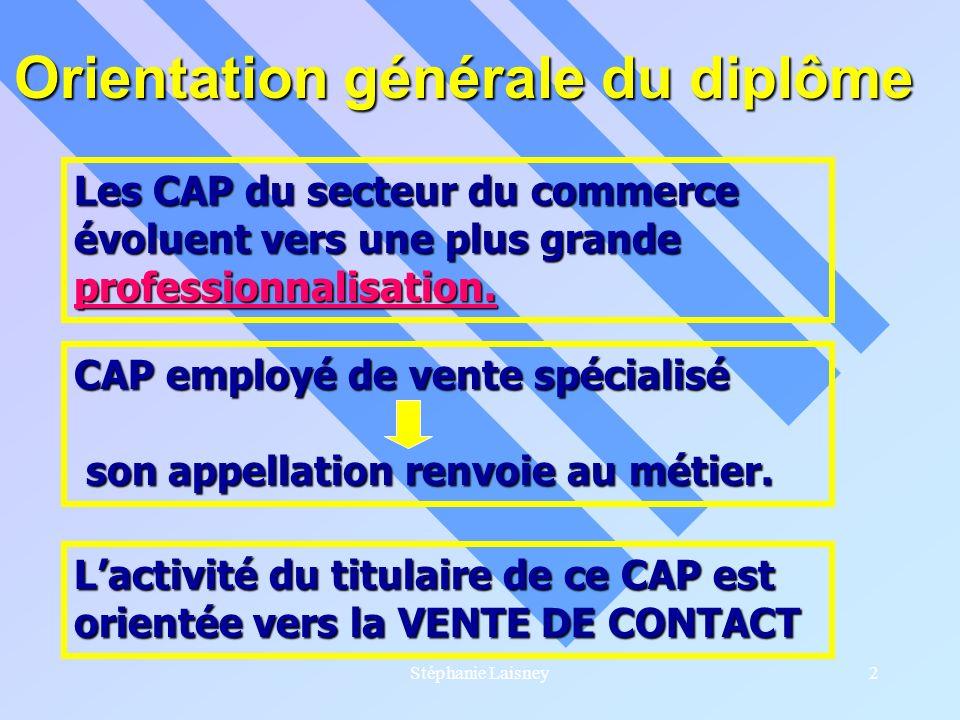 Stéphanie Laisney2 Orientation générale du diplôme Les CAP du secteur du commerce évoluent vers une plus grande professionnalisation. CAP employé de v