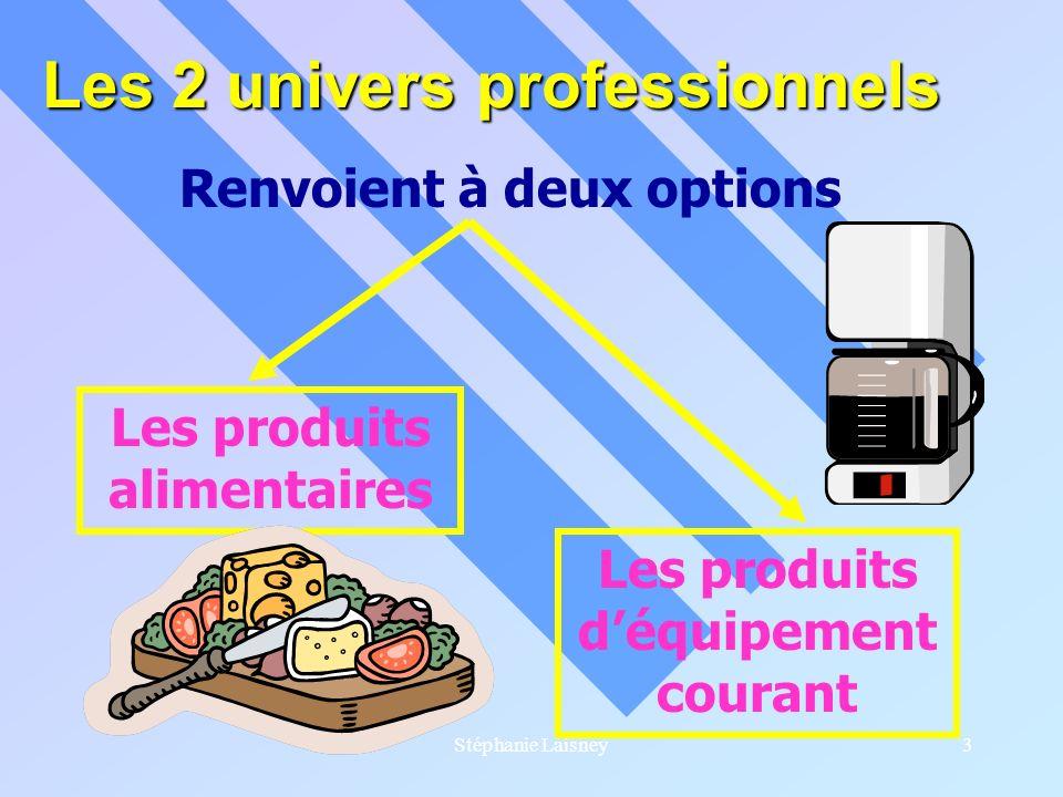 Stéphanie Laisney3 Les 2 univers professionnels Renvoient à deux options Les produits alimentaires Les produits déquipement courant