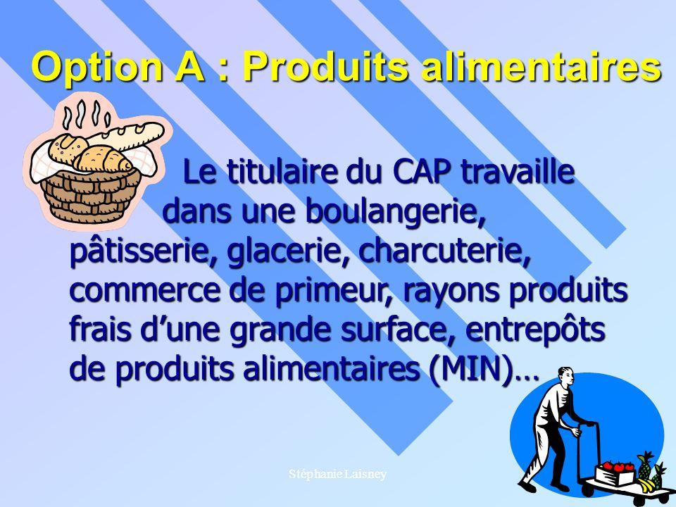 Stéphanie Laisney Option A : Produits alimentaires Le titulaire du CAP travaille Le titulaire du CAP travaille dans une boulangerie, dans une boulange