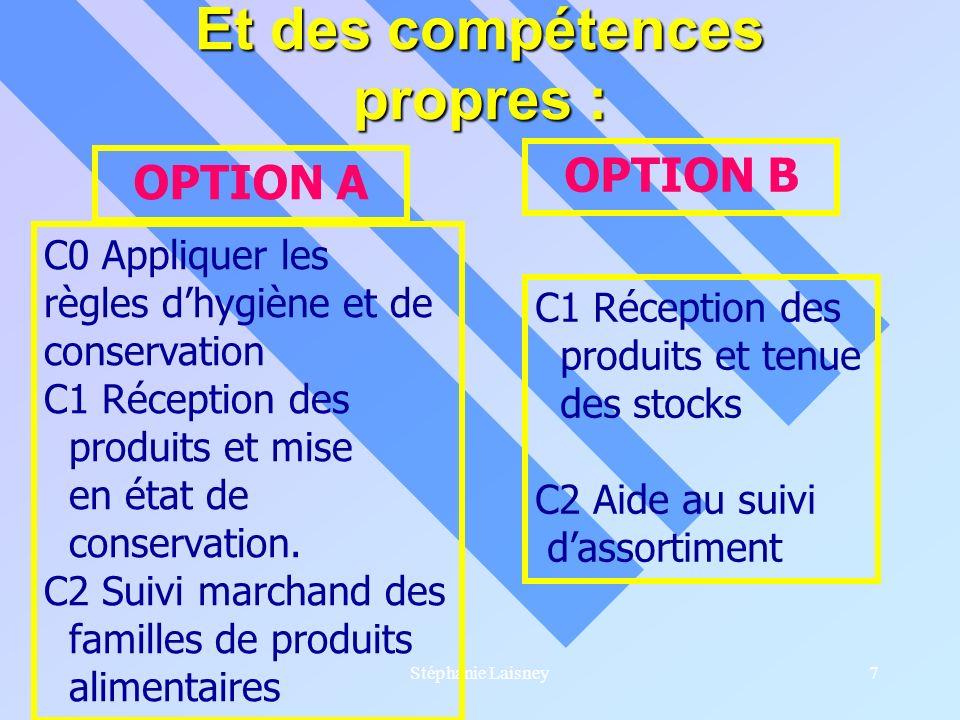 Stéphanie Laisney7 Et des compétences propres : OPTION A OPTION B C0 Appliquer les règles dhygiène et de conservation C1 Réception des produits et mis