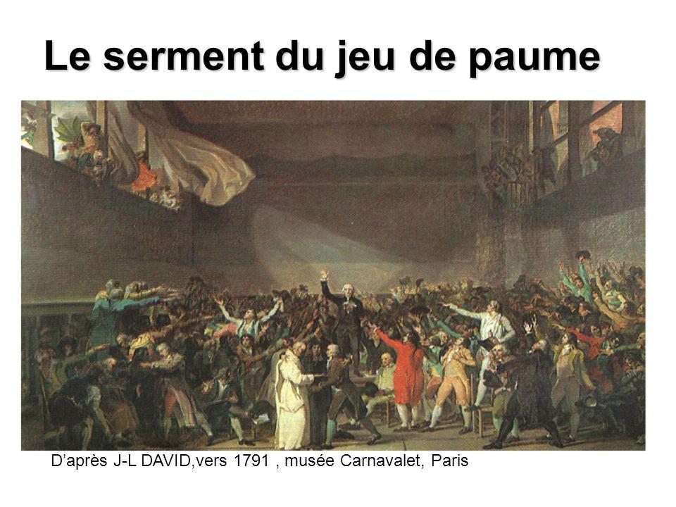 Le serment du jeu de paume Daprès J-L DAVID,vers 1791, musée Carnavalet, Paris