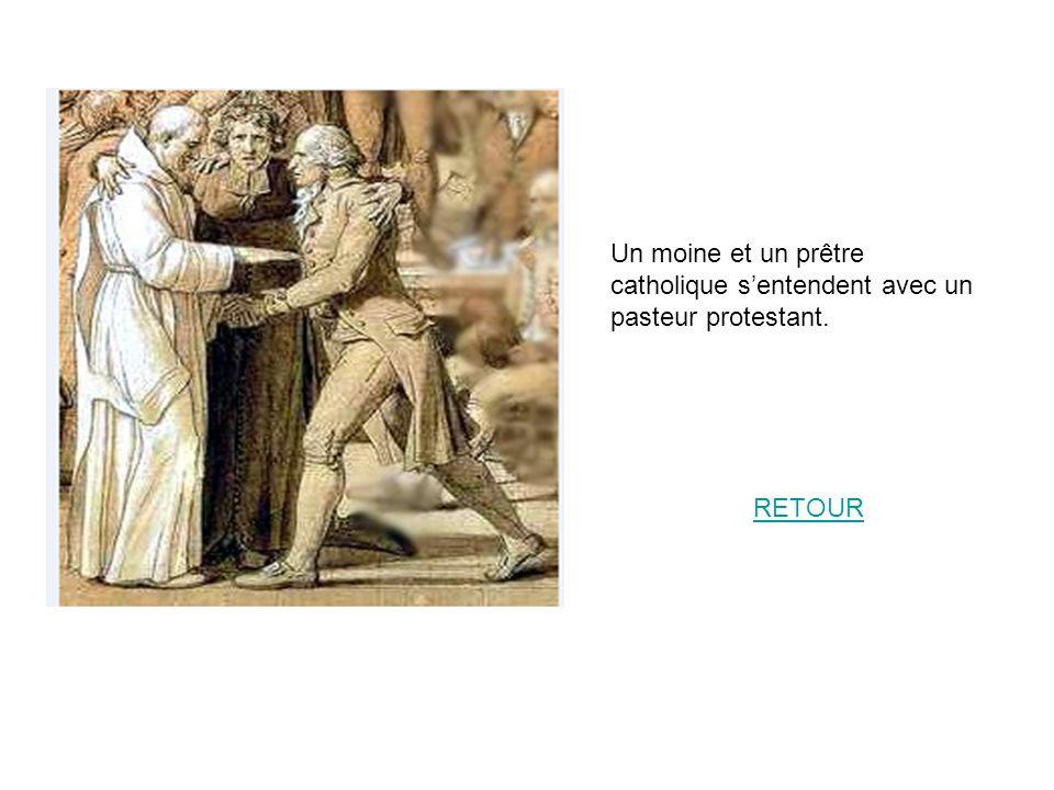 Un moine et un prêtre catholique sentendent avec un pasteur protestant. RETOUR