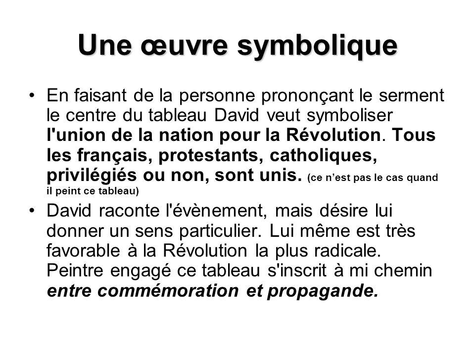 Une œuvre symbolique En faisant de la personne prononçant le serment le centre du tableau David veut symboliser l union de la nation pour la Révolution.