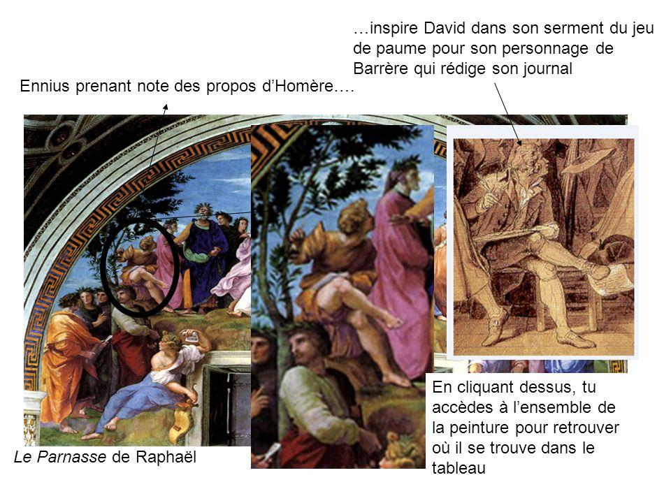 Ennius prenant note des propos dHomère…. …inspire David dans son serment du jeu de paume pour son personnage de Barrère qui rédige son journal En cliq