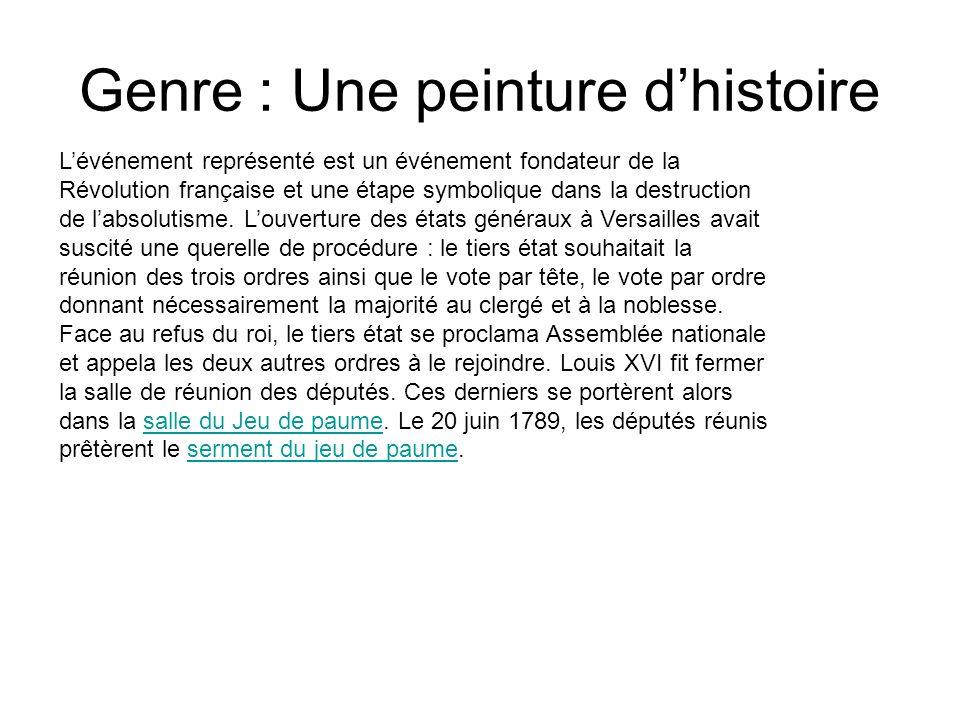 Genre : Une peinture dhistoire Lévénement représenté est un événement fondateur de la Révolution française et une étape symbolique dans la destruction de labsolutisme.