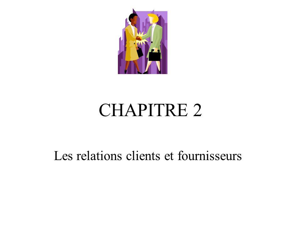 CHAPITRE 2 Les relations clients et fournisseurs