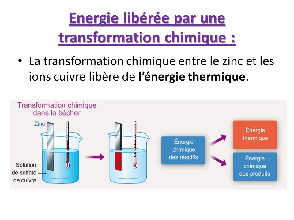 Energie libérée par une transformation chimique : La transformation chimique entre le zinc et les ions cuivre libère de lénergie thermique.