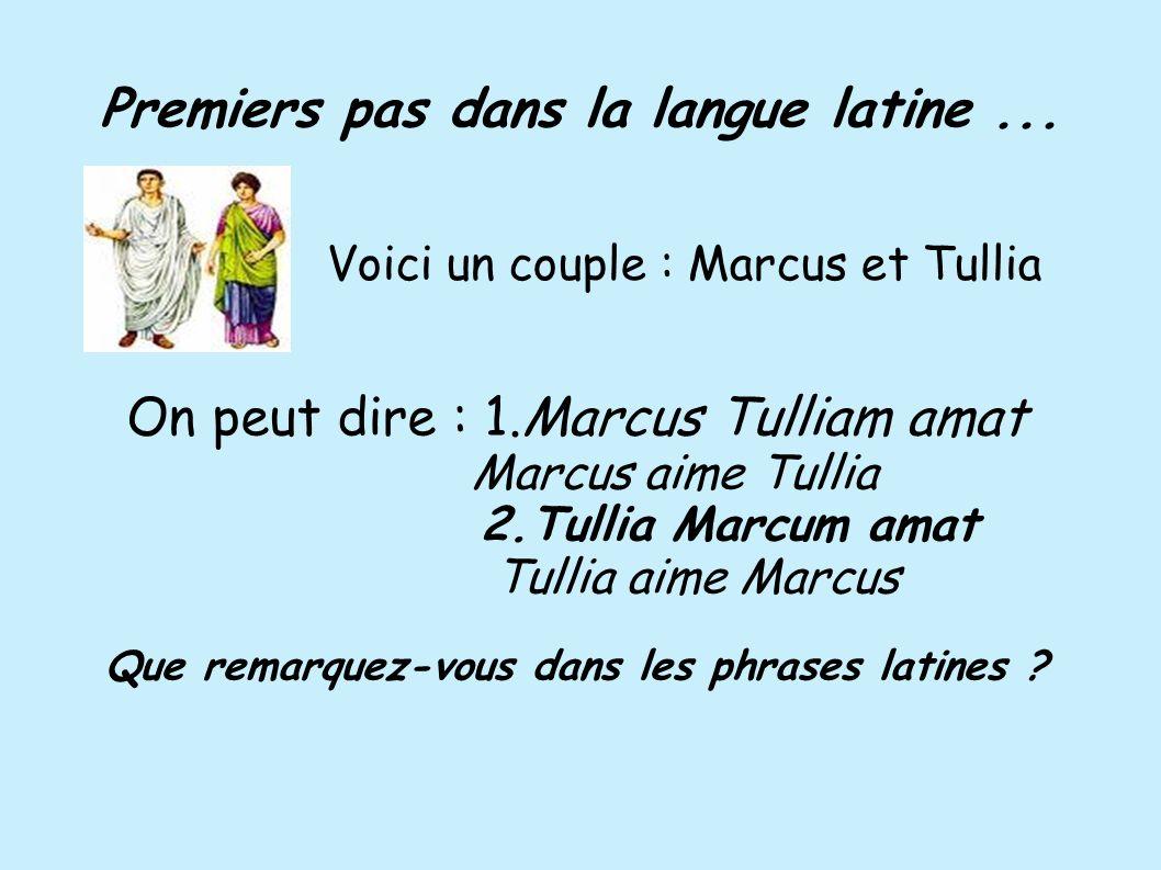 Premiers pas dans la langue latine... On peut dire : 1.Marcus Tulliam amat Marcus aime Tullia 2.Tullia Marcum amat Tullia aime Marcus Que remarquez-vo
