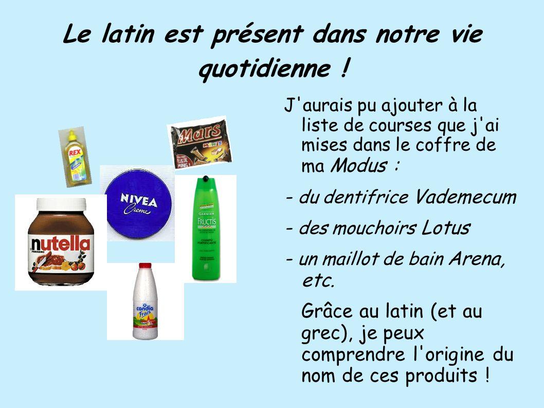 Le latin est présent dans notre vie quotidienne ! J'aurais pu ajouter à la liste de courses que j'ai mises dans le coffre de ma Modus : - du dentifric