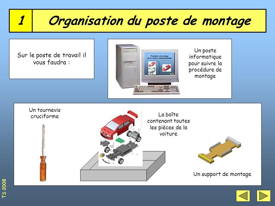 Organisation du poste de montage1 Sur le poste de travail il vous faudra : Un tournevis cruciforme La boîte contenant toutes les pièces de la voiture