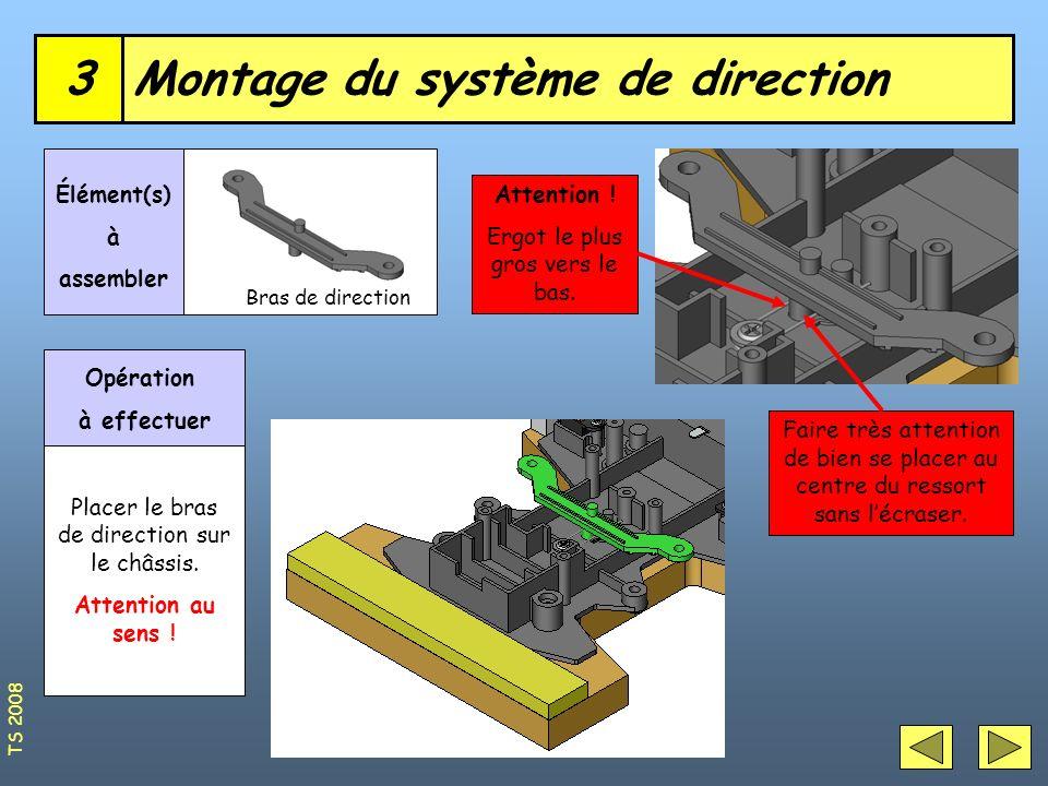 Roues avant4 Axes de direction (diamètre 3mm) Élément(s) à assembler Opérations à effectuer Placer les axes sur les roues.