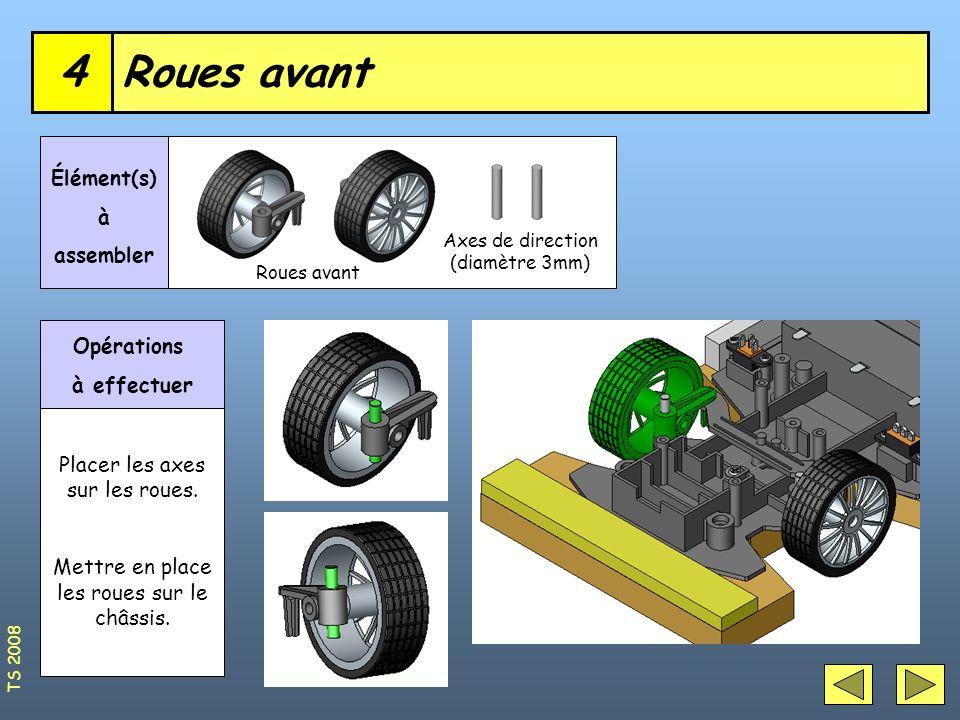 Roues avant4 Axes de direction (diamètre 3mm) Élément(s) à assembler Opérations à effectuer Placer les axes sur les roues. Mettre en place les roues s