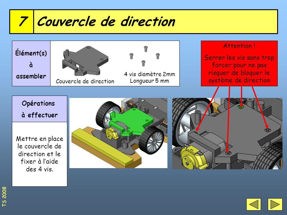 Couvercle de direction7 4 vis diamètre 2mm Longueur 5 mm Élément(s) à assembler Opérations à effectuer Mettre en place le couvercle de direction et le