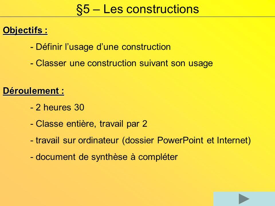 Objectifs : - Définir lusage dune construction - Classer une construction suivant son usage Déroulement : - 2 heures 30 - Classe entière, travail par