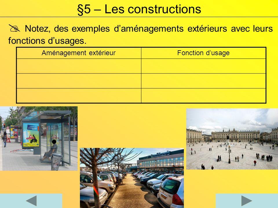 Notez, des exemples daménagements extérieurs avec leurs fonctions dusages. Aménagement extérieurFonction dusage §5 – Les constructions