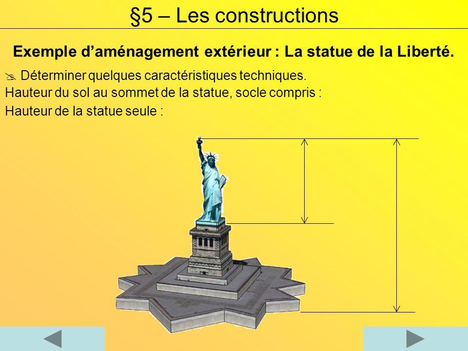 Exemple daménagement extérieur : La statue de la Liberté. Déterminer quelques caractéristiques techniques. Hauteur du sol au sommet de la statue, socl
