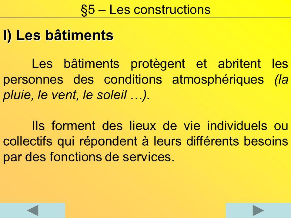 I) Les bâtiments Les bâtiments protègent et abritent les personnes des conditions atmosphériques (la pluie, le vent, le soleil …). Ils forment des lie