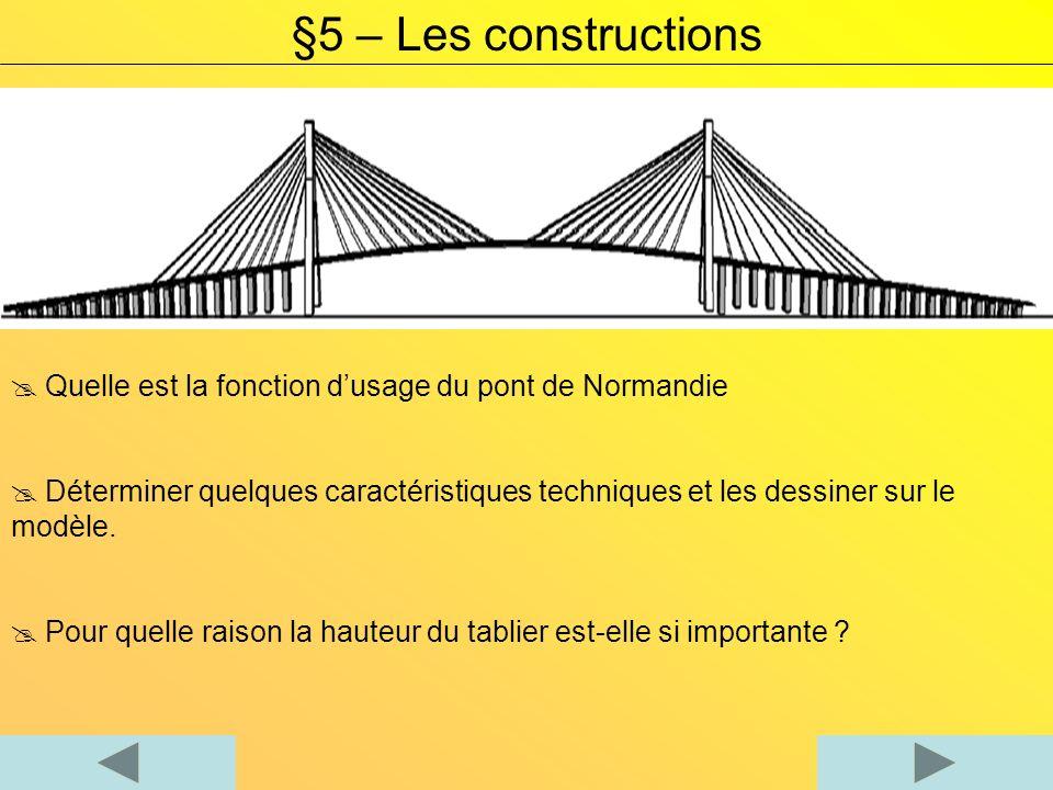 Quelle est la fonction dusage du pont de Normandie Déterminer quelques caractéristiques techniques et les dessiner sur le modèle. Pour quelle raison l
