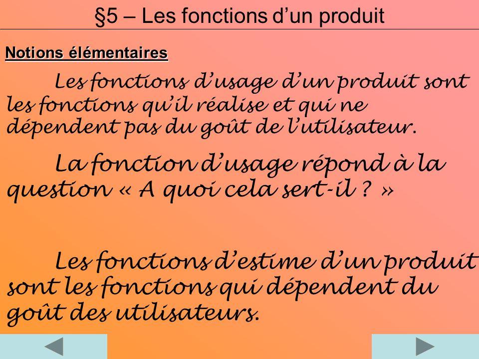 Notions élémentaires Les fonctions dusage dun produit sont les fonctions quil réalise et qui ne dépendent pas du goût de lutilisateur. La fonction dus