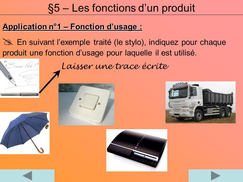 Application n°1 – Fonction dusage : En suivant lexemple traité (le stylo), indiquez pour chaque produit une fonction dusage pour laquelle il est utili