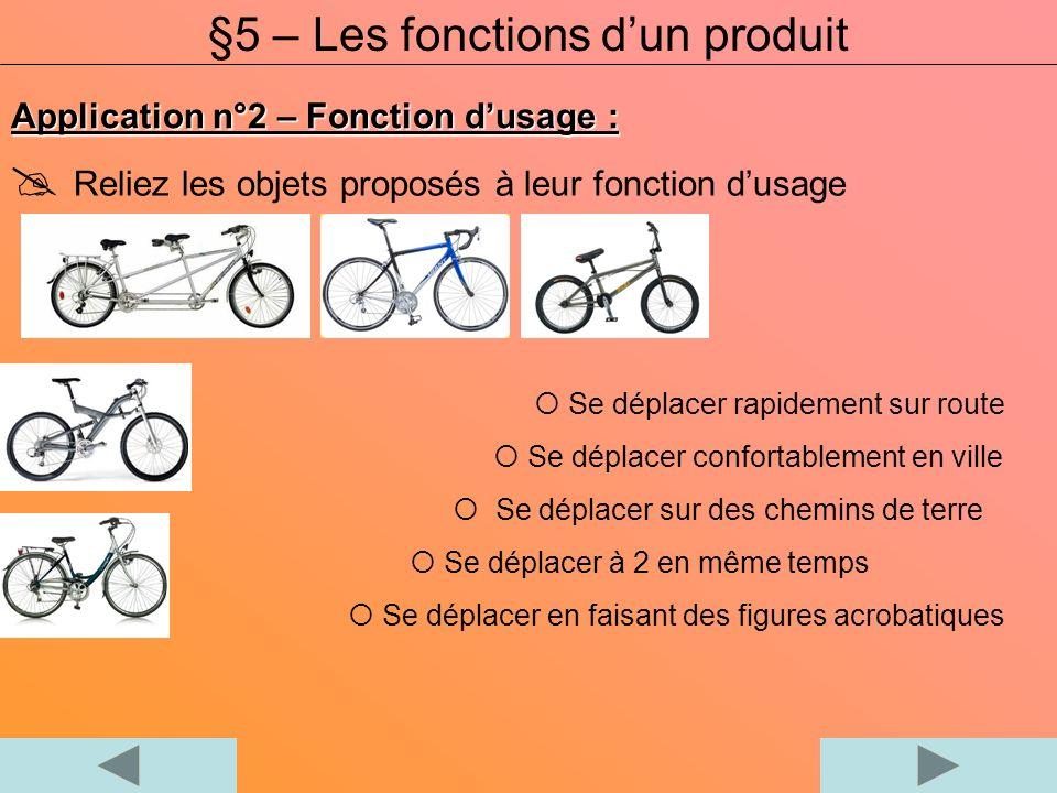 Application n°2 – Fonction dusage : Reliez les objets proposés à leur fonction dusage §5 – Les fonctions dun produit Se déplacer rapidement sur route