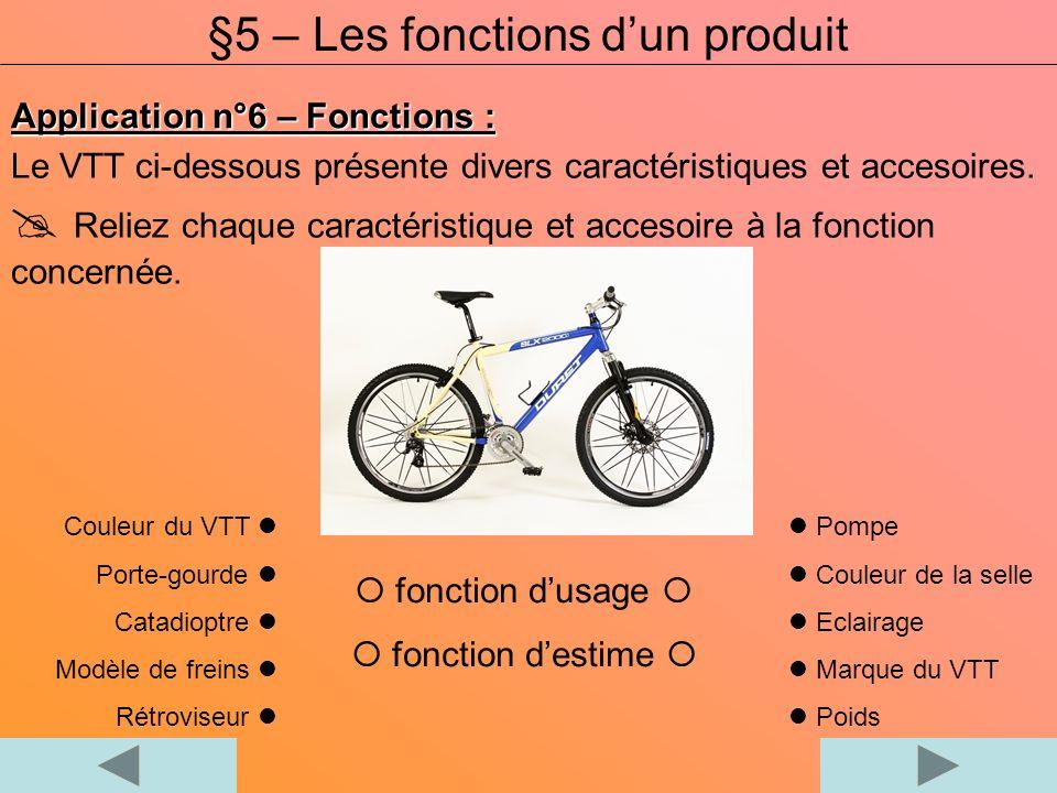 Application n°6 – Fonctions : Le VTT ci-dessous présente divers caractéristiques et accesoires. Reliez chaque caractéristique et accesoire à la foncti