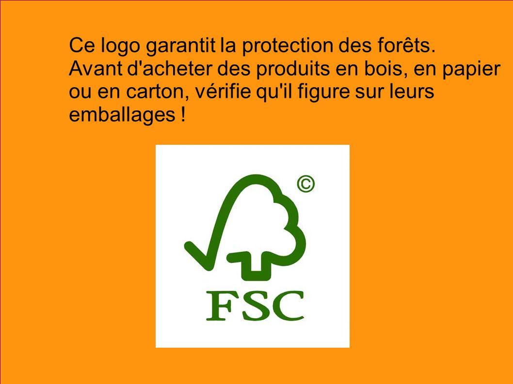 Ce logo garantit la protection des forêts. Avant d'acheter des produits en bois, en papier ou en carton, vérifie qu'il figure sur leurs emballages !