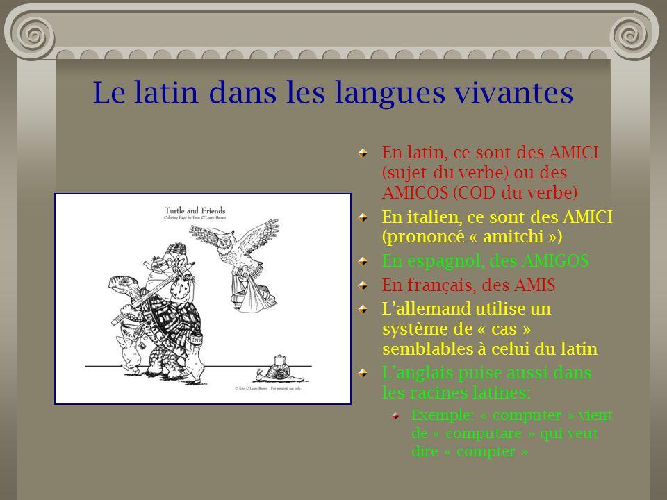 Le latin dans les langues vivantes En latin, ce sont des AMICI (sujet du verbe) ou des AMICOS (COD du verbe) En italien, ce sont des AMICI (prononcé «